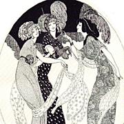 Rare Studio Magazine 'Three Graces' Signed Lithograph 1916.