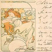 Alphonse Mucha Antique Original French Postcard 1904