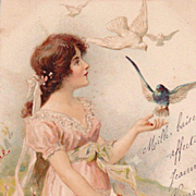 SALE Antique French 'Girl with Birds' Postcard 1905.