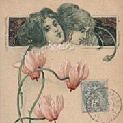 Art Nouveau French 'Fleurs' Gilded Postcard 1905.