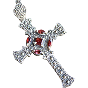 SALE Marcasite Garnet and Sterling Silver Gothic Revival Cross Pendant
