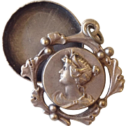 Art Nouveau French Repousse Grecian Revival Lady Face Keeper Pendant with Ginko Frame