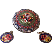 Antique Italian Micro Mosaic Brooch and Earrings Demi-Parure c1890.