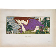 Rare Original French Stone Lithograph 'Anxiete' from Estampe Decoratif by Eugene Grasset.