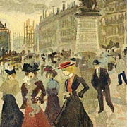 Early French Signed Lautrec Postcard 'La Place Clichy' c1900.