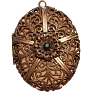 Original Filigree Brass Locket c1900 with Charming Photos