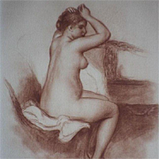 SALE Signed School of Renoir Sanguine Nude Numbered Engraving 'Jeune Femme Nue' 1923