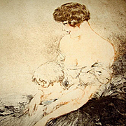SALE Original Louis Icart 'Le Jardin Japonaise' L'Illustration Etching and Aqua Tint 1932.