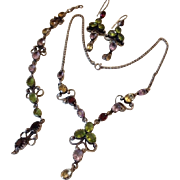 SALE Three Piece Set (Full Parure) Multi-Stone Sterling Necklace Bracelet Earrings: Garnet Ame