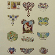 SALE Antique Full Color Engraving 'Art Nouveau Brooch Designs' 1901.