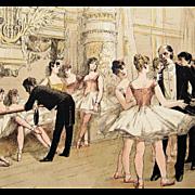 SOLD Antique Signed French Magazine Ballet Engraving 'Le Foyer de la Danse' 1885 Rare.