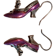 SALE Silver, Pink Enamel and Garnet Shoe Shape Dangle Earrings. c1930