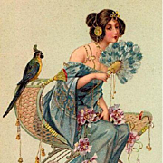 SALE 'Woman with Parrot and Fan' Art Nouveau Postcard