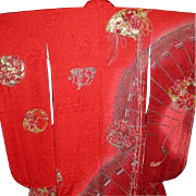 Signed Yamamoto Vintage Red Silk Furisode Kimono with Fans, Flower Balls, Tassels and  Gold ..