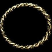 Solid Oval Plait Twist Silver Bangle Bracelet