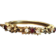 Natural Garnet Hearts and Rose Cut Clear Paste Gold-washed Edwardian 'Sweetheart' Clamper Bang