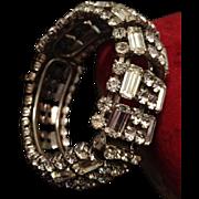 SALE Huge A/D Rhinestone Ear Rings and Hinged Clamper Bangle. c1930's