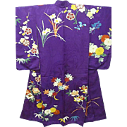 Antique Purple Silk Crepe Japanese Furisode Kimono with Embroidered Flowers, Trees, Hand paint