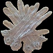 Pastel Blue/Grey Crocheted Cotton Gloves c1920-30