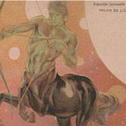 SALE Zodiac Centaur Art Nouveau French Sagittarius Paris Expo Postcard 1900