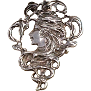 Sterling Nouveau Revival Lady Face Brooch Pendant
