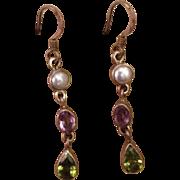 Silver Multi Gemstone Suffragette Dangle Earrings Amethyst Peridot Faux Pearl..Victorian ...