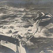 Old Russian 'Fishermen and Mermaids' Postcard.