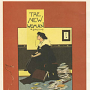 Original Antique Art Nouveau French Lithograph 'The New Woman' 1897