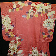 SALE Superb Antique Kimono~Rose Pink Floral Silk/Satin Furisode with Gold Embroidery.