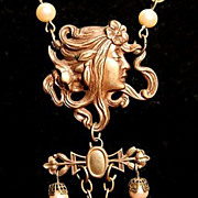 SALE PENDING Stunning Alphonse Mucha 'Circe' Glass, Bead and French Brass Festoon Necklace.