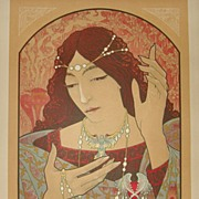 SALE Art Nouveau Original French L'Estampe Moderne Lithograph 'Invocation a la Madonna' 1897 b