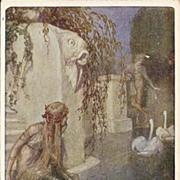 SALE Early German Signed Mermaid and Hero Postcard.