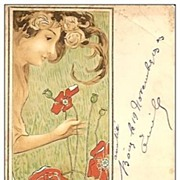 Antique Art Nouveau French Artist  'Girl with Poppies' Postcard 1903.