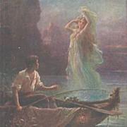 Austrian Artist 'Fisherman and Mermaid' Postcard.