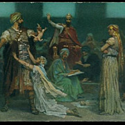 SALE Old German Signed Biblical Story 'Judgement of Solomon' Postcard.