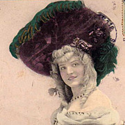 SALE Hand Colored French Folies Bergeres Actress Real Photo Postcard 1905.