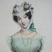 SALE Exquisite Early 19th Century Hand Colored Engraving 'A Wife' 1828.