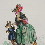 SALE Rare Original Colored Signed Grandville French Caricature Engraving 'Maman Kangourou' 184