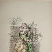 SALE Original Grandville Signed French  Engraving 'Fleur de Pecher' by Grandville 1852.