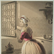 SALE Original Pastel Shaded German Steel Engraving 'The Consent' c1860..Exquisite.