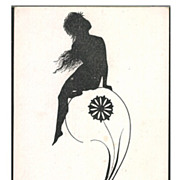 SALE Signed Silhouette 'Naked Girl and Peacock Feather' German Postcard 1911.