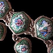 SALE PENDING On HOLD for Jill:Art Deco Porcelain 'Italian Scenes'  Choker Necklace.