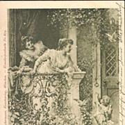 SALE Antique German Art Nouveau 'Postillon d'Amour' Artist Postcard.