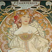 SALE Early Vintage Alphonse Mucha 'Champenois' Poster c1970