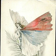 SALE Rare French Butterfly Lady Patriotic Postcard 'Serbie' 1914-18