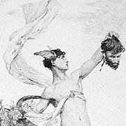 SALE Antique Victorian Greek God  Etching 'The Slayer of Argus' c1880