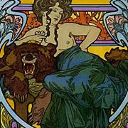 SALE Stunning  Rare English Mucha Poster c1960 'La Dame L'Ours'.