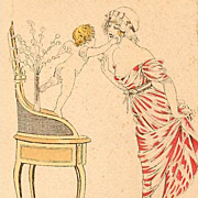 Antique French Watercolor Signed 'Cupid' Postcard.