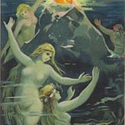 SALE German Mermaid Postcard c1900. 'Rheingold'