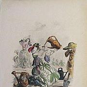 SALE Grandville Victorian Engraving 'Pois de Senteur' 1867 from Les Fleurs Animees.